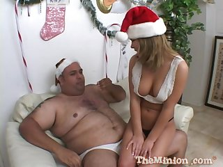 Kinky asian babe Tiger licks a fat man's small dick and balls