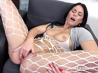 Beautiful unladylike fingers her twat plus licks them spot of bother