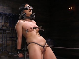 Latina with heavy makeup Rose Darling gagged, pledged plus abused