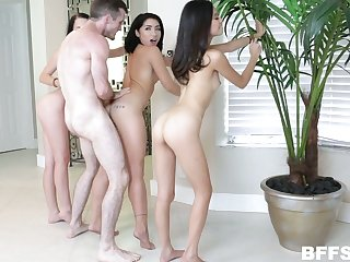 Torrid girlie Vina Sky is happy there be fucked missionary as copiously as two more chicks