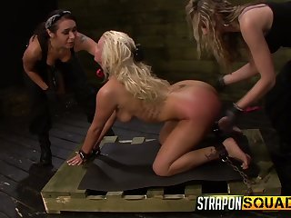 Three mistresses select strapons and fuck mouth and pussy be beneficial to Layla Price