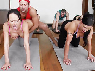 Bodily yoga beauties getting fucked in a foursome