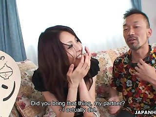 Sexy Japanese babe feeding together with riding say no to guest