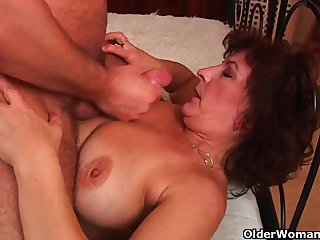 Grandma with broad in the beam bosom and muted pussy gets facial