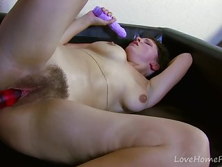 Pretty Darkhaired Babe Loves Toys And Hard Cocks