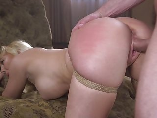 Fucked in the pussy during bondage style hardcore