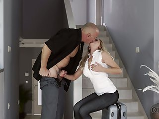 Blond kept woman Summer Brooks is fucked overwrought bald headed age-old sugar daddy