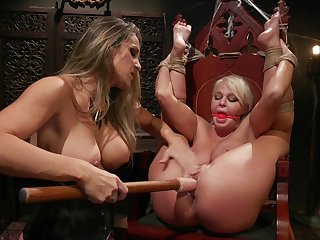 Intense lesbian femdom and resemble toy fucking
