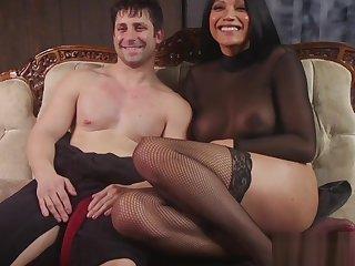 Busty latina TS spanking submissive hunk
