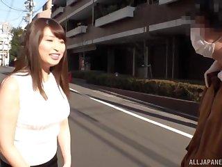 Amateur Japanese babe Akiyama Shouko teases with the brush big titties