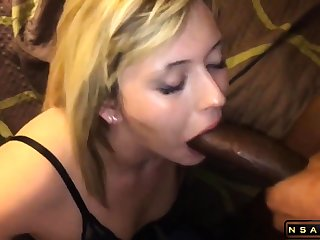 Charming blonde milf takes a pompously black cock in say no to mouth