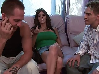Brunette cougar plays with a handful of cocks and gets will not hear of tits jizzed
