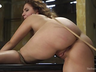 Expert rope bondage keeps Callie Klein in place during BDSM fucking