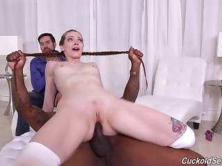 Aroused girl fucks by a disgraceful man in front be worthwhile for her boyfriend