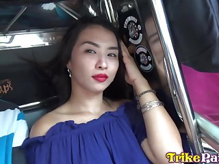 Shaved pussy be required of horny and pretty Filipina girl Alex is nailed doggy atmosphere