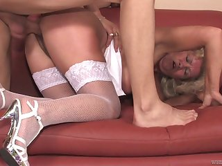 Wild big breasted blonde adult whore Franscina is into sucking cock