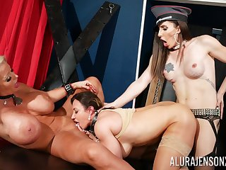 Dominant whores get intimate in brutal lesbian troika