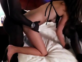 Two black guys fuck girl in personate of husband