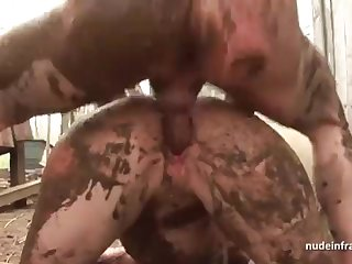 Bony inexperienced brown-haired rectal banged n spunked outdoor in a filthy french farm