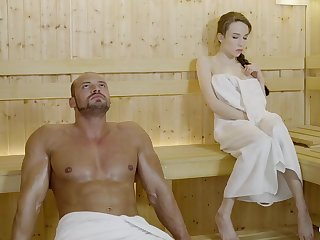 Russian gal with reference to braided maddened and large mammories got drilled in the sauna, until she came