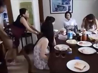 Naughty Chinese fellow is banging his wifey in front be useful to his family, and loving well supplied